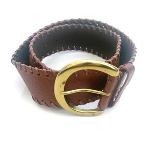 Chaps Embroidered Wide Brown Leather Belt